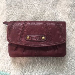 Fossil Maroon Coin Purse with Card Insert